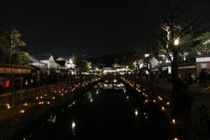 春の倉敷美観地区、夜間ライトアップ