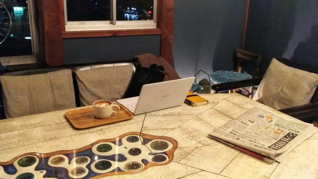みはらし亭カフェで作業中
