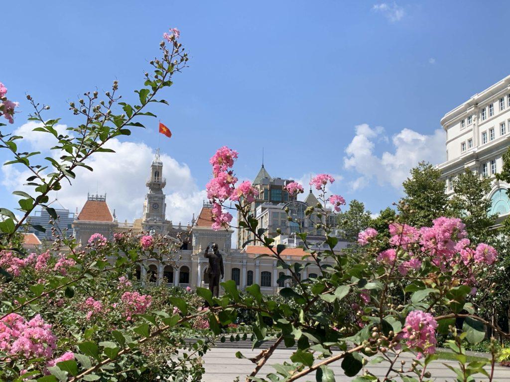 ホーチミンの花のある風景